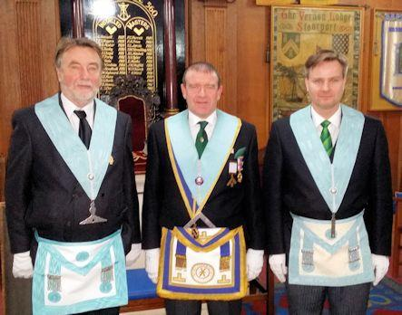 WM W. Bro. David Bedford, SW Bro. Peter Davies and JW Bro. Steven Christensen. Vernon Lodge 560 - 2017.